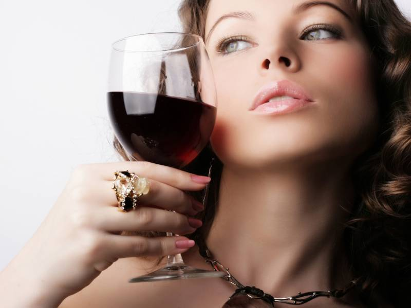 woman and red wine